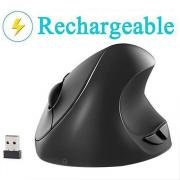 Vertical Mouse, 7Lucky Small Rechargeable Ergonomic Wireless Mouse 2.4GHz High Precision Optical Mice : 3 Adjustable DPI Levels, 6 Buttons for PC, Desktop, Laptop,【for Small Hands】- Black