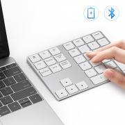 Bluetooth Number Pad, Lekvey Aluminum Rechargeable Wireless Numeric Keypad Slim 34-Keys External Numpad Keyboard Data Entry Compatible for Macbook, MacBook Air/Pro, iMac Windows Laptop Surface Pro etc.