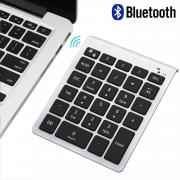Bluetooth Number Pad, Numeric Keypad - Lekvey Portable Wireless Bluetooth Keypad : 28-Key Numpad Keyboard Extensions for Financial Accounting Data Entry for Laptop Surface Pro Tablets Windows - Silver